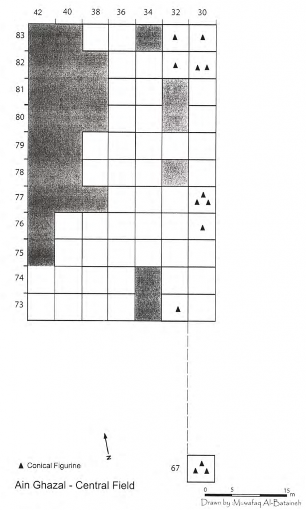 Numbered grid illustrating the number of conical figurines in each excavated square.