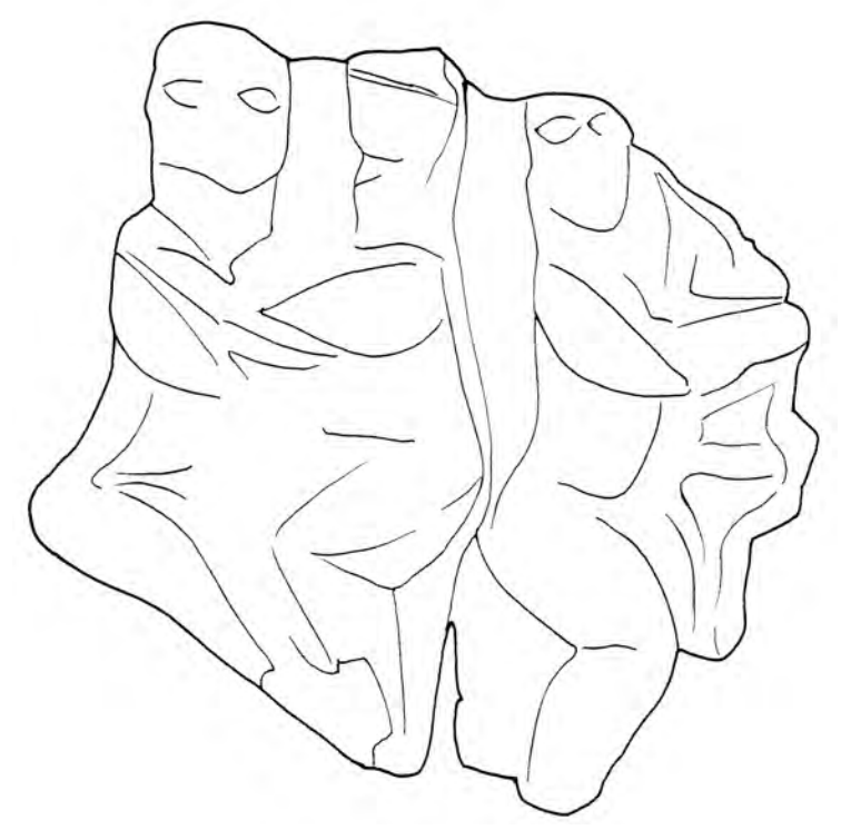 drawing of the shapes in the relief of people embracing.