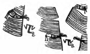 drawing of a frieze depicting vultures with gigantic comb-like wings assaulting decapitated figures.