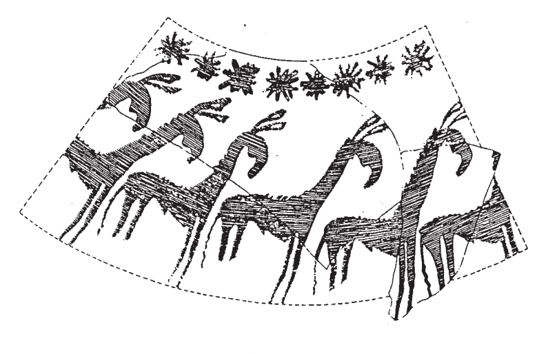 drawing of animal designs on Halaf pottery and glyptic