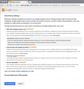 Google Analytics Settings Page