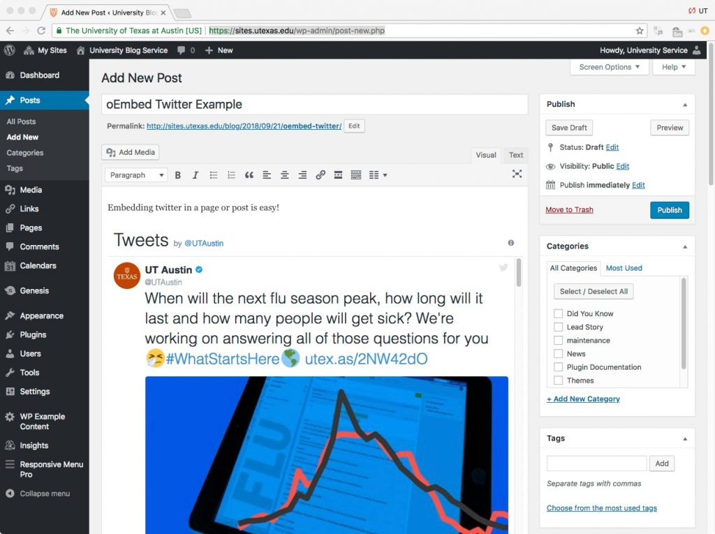 Using Twitter oembeds in the WordPress post editor