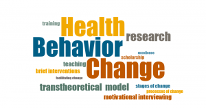 Graphic containing the words Traning, Health, Research, Behavior, Excellence, Scholarship, Teaching, Brief Interventions, Change, Facilitating Change, Transtheoretical Model, States of Change, Process of Change and Motivational Interviewing.