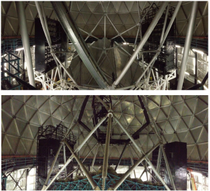 Panoramic views showing the VIRUS Enclosures being installed.  The top shows a view from in-front of the mirror and the bottom shows a view from behind the mirror.  Both are taken from the catwalk.