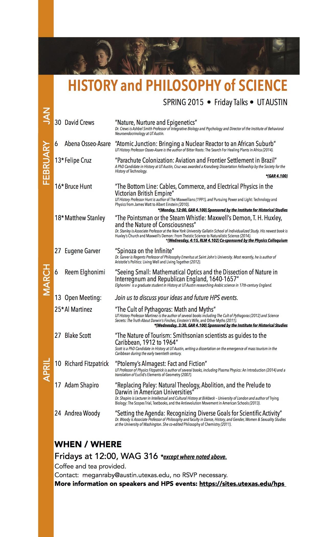 HPS schedule spring 2015