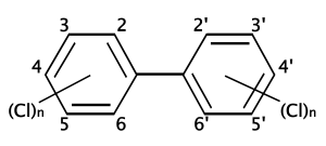 Structural formula for polychlorinated biphenyls
