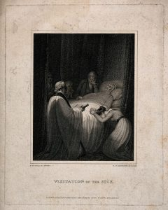 Death-bed scene, figures crowd around a dying person's bed in grief while final rites are being read. Stipple engraving by N. Schiavonetti, 1812, after R. Westall.