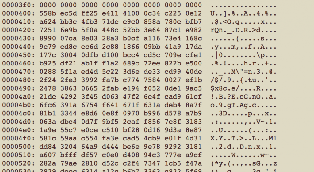Hex dump of original exe at offset 0x400