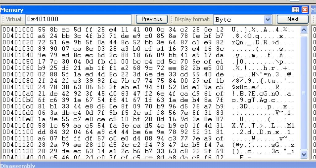 WinDbg memory window. Hex values at offset 0x401000