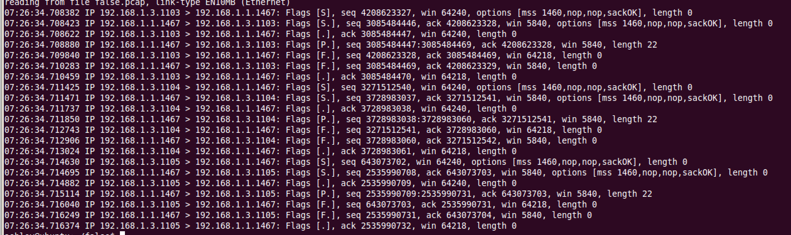 Packet capture produced by running false.exe