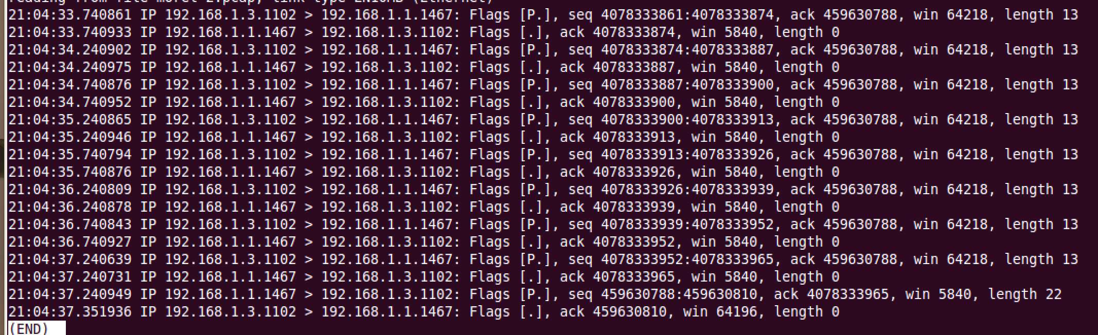 """Seven network packets needed to transmit """"sho ver"""" command"""