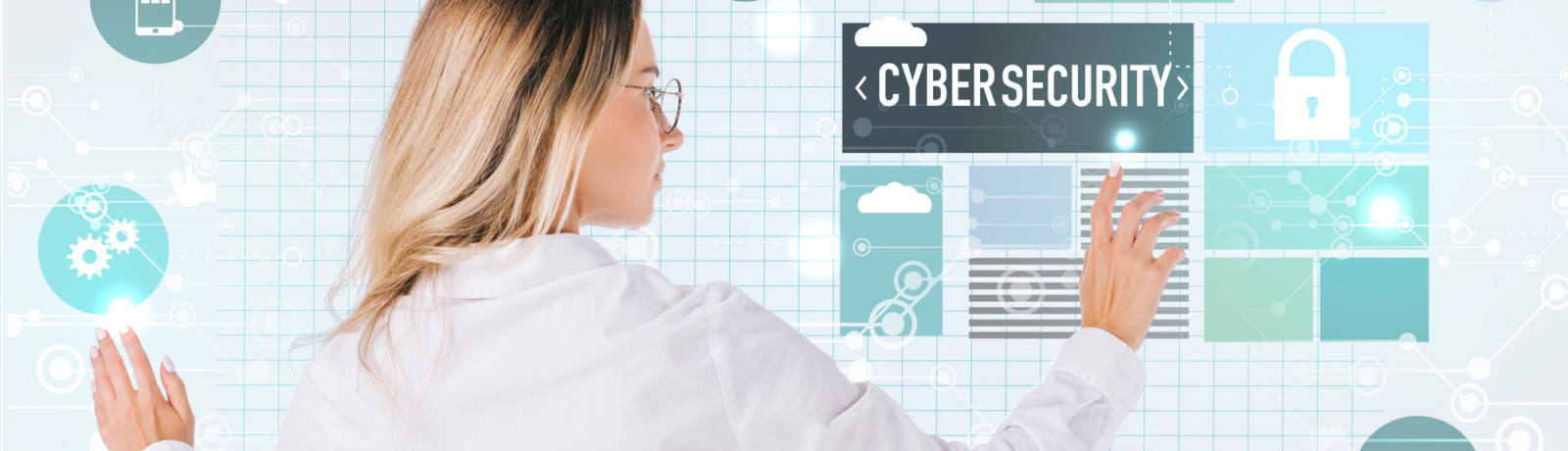 Woman in business attire accessing information about cybersecurity