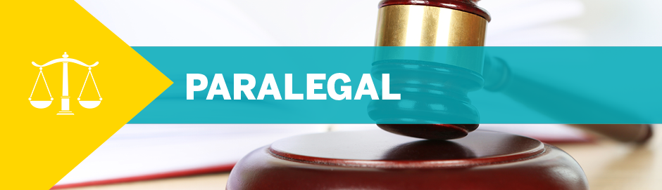 "A photo of a gavel with text overlayed: ""Paralegal"""