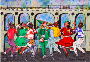 Painting Carnival at Lapa Archway by Heitor dos Prazeres