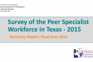 Survey of Texas Certified Peer Specialists 2016 Summary Report