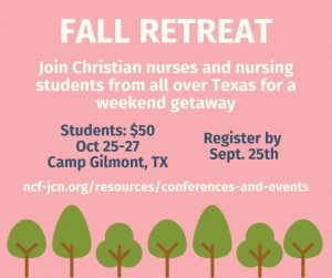 Fall retreat in Gilmont, TX Oct 25-27. Register by september 25th on ncf-jcn.org.