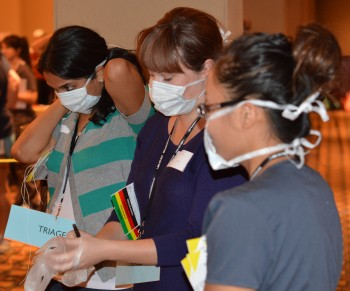 Student nurses sprang into action.
