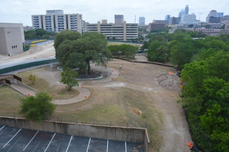 May 7, 2014: Two weeks after the groundbreaking for the Dell Medical School, Centennial Park becomes ground zero.