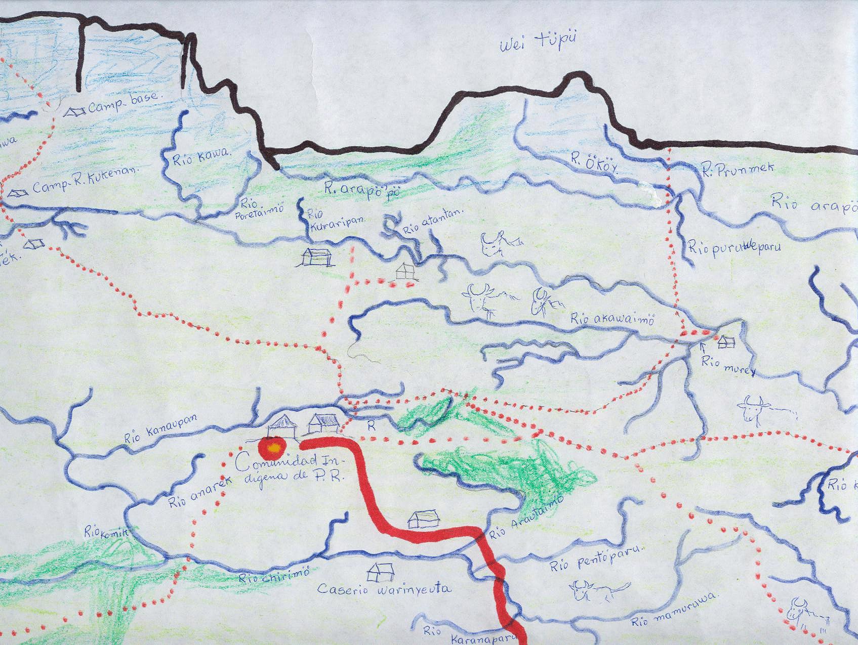 Elders' mental map, Peraitepuy, Pemon territory, Gran Sabana, Venezuela.