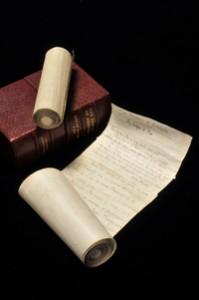 "Manuscripts in scroll form of Edgar Allan Poe's tale, ""The Domain of Arnheim,"" 1847"