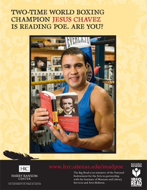 Jesus Chavez is reading Poe. Photo by Pete Smith.
