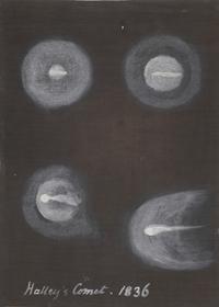 Caroline Herschel, Four illustrations of Halley's Comet (1836-36). Gouache on paper.