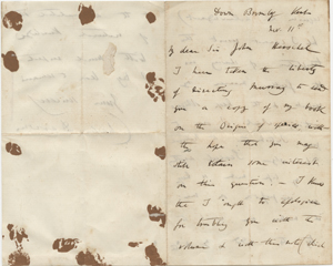 Letter from Charles Darwin to Sir John Herschel, dated Nov. 11, 1859