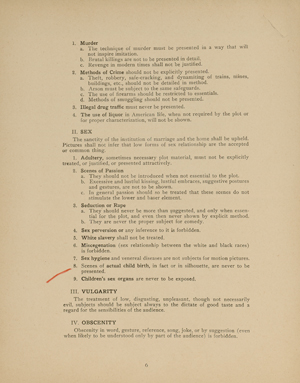 "Click on image to enlarge. ""A Code to Govern the Making of Motion and Talking Pictures"" by the Motion Picture Producers & Distributors of America, Inc., June 13, 1934."