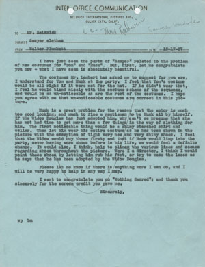 Click image to enlarge. Memo from Walter Plunkett to David O. Selznick regarding costumes for 'The Adventures of Tom Sawyer,' December 17, 1937