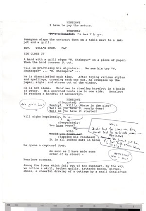 Click image to enlarge. Early draft of the screenplay for 'Shakespeare in Love' by Marc Norman and Tom Stoppard, 1998.