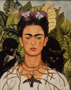 Frida Kahlo (Mexican, 1907–1954). 'Self-portrait with Thorn Necklace and Hummingbird' (1940). Oil on canvas, 61.25 cm x 47 cm. Harry Ransom Center. © 2009 Banco de Mexico Diego Rivera & Frida Kahlo Museums Trust. Av Cinco de Mayo No. 2, Col. Centro, Del. Cuauhtemoc 06059, Mexico, DF