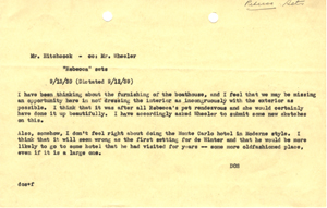 Click image to enlarge. Memo from David O. Selznick to Alfred Hitchcock and Lyle Wheeler regarding sets for 'Rebecca,' September 13, 1939.