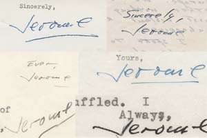 Signatures from various Salinger letters in the Ransom Center's collection.