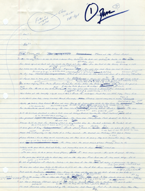 First pages of a handwritten draft of 'Infinite Jest' by David Foster Wallace.