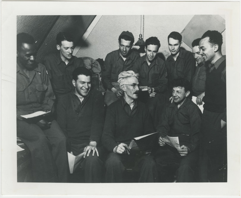 """Dashiell Hammett and the staff of """"The Adakian,"""" undated, photographer unkown. From the Diane Johnson collection."""