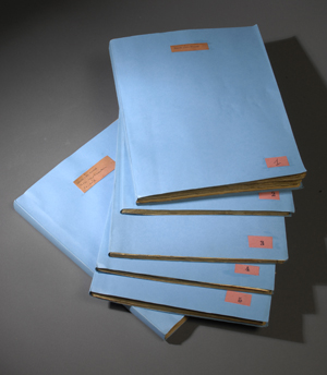 Major and minor doctoral theses manuscripts by anthropologist Claude Lévi-Strauss. Photo by Pete Smith.