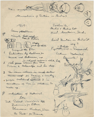 Alfred Junge's notes on design for 'Black Narcissus.' Click on the image to view larger version