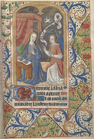 Hours of the Virgin. Matins. Annunciation. HRC MS 6, fol. 15r, France, mid to late 15th century.