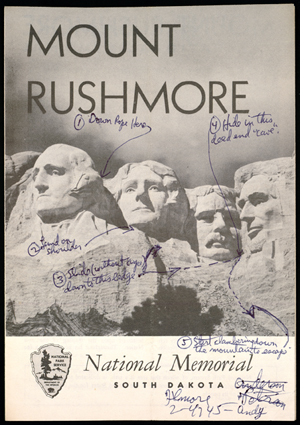 Brochure from Mount Rushmore that Ernest Lehman used in his research for North By Northwest (1959). Click image to enlarge.