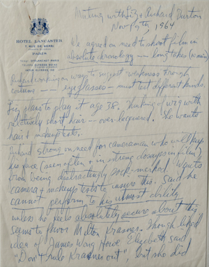 Page 1 of Ernest Lehman's notes about a meeting with Elizabeth Taylor and Richard Burton about 'Who's Afraid of Virginia Woolf?' Click image to enlarge.