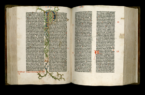 Volume 1 of Old Testament of Gutenberg Bible. Iosua, or Joshua. Iudicum, or Judges. Pages 114 verso and 115 recto.