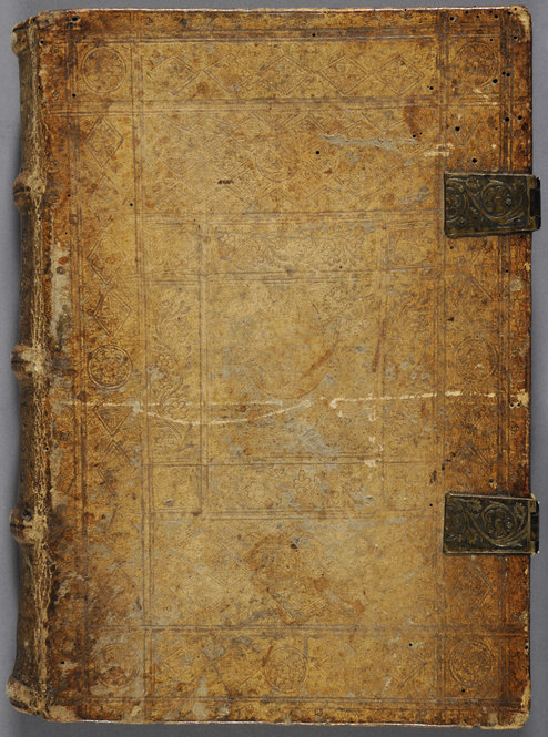 Fifteenth-century Gothic bookbinding, signed with the name-stamp of Johannes Meigfoge. Ellwangen, Germany. Pigskin over wooden boards, front cover. Photo by Pete Smith.