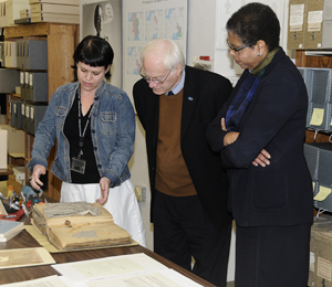 Archivist Jennifer Hecker shares the Morris Ernst collection with the National Endowment for the Humanities (NEH) Chairman Jim Leach and Deputy Chairman Carole Watson. The NEH provided a grant to arrange, describe, and preserve the Ernst papers. Photo by Anthony Maddaloni.