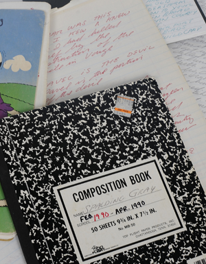 Performance notebooks and journals from the Spalding Gray archive.