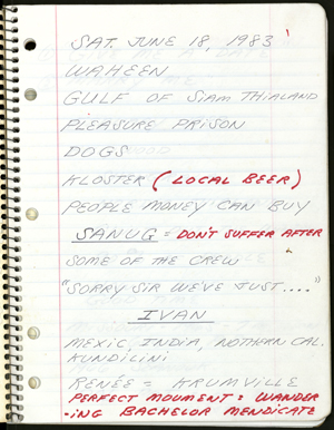 First page from Spalding Gray's performance notebook for 'Swimming to Cambodia.'