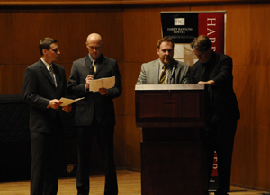 From left, Kurt Hildebrand, Shannon McCormick, L. B. Deyo, and Wayne Alan Brenner read an excerpt from Wallace's first novel, 'The Broom of the System.'