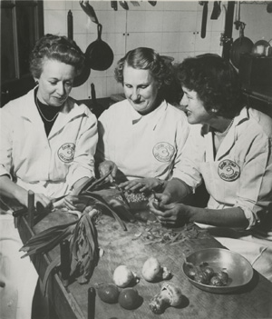 Publicity photo of Louisette Bertholle, Simone Beck, and Julia Child by Paul Child.