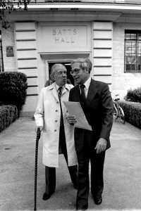 Jorge Luis Borges with Dr. Miguel Gonzalez-Gerth at The University of Texas at Austin. Photo by Larry Murphey.