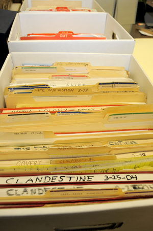 Files that are being cataloged from the collection of screenwriter and director Paul Schrader. Photo by Anthony Maddaloni.