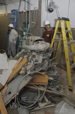 Demolition of a former lab & studio was the first stage of a project to install a low-humidity, cold-storage vault for housing cellulose acetate materials. Photo by Anthony Maddaloni.